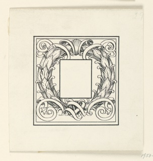 A symmetrical design of a wreath and scrolls. Blank frame for initial, center.