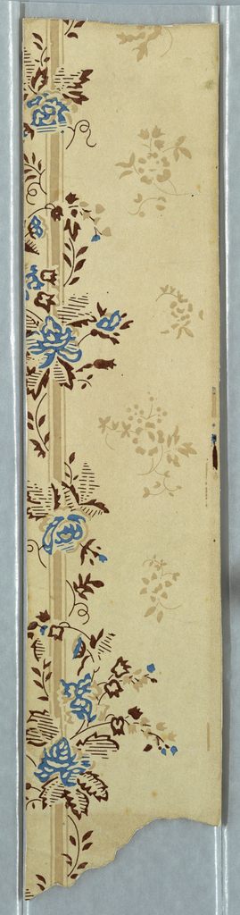 Vertical strip from edge of machine-printed paper, with vine and flowers twined about a stripe, and scattered floral arabesques.