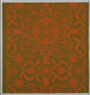 """Borage"" pattern; thirty-three samples, a/i: printed in green on green. Sample number stamped on verso: 133390; j/r: printed in yellow on white. Sample number stamped on verso: 134970; s/y: printed in orange on green. Sample number stamped on verso: 138740; z/gg: printed in blue on blue. Sample number stamped on verso: 138730."