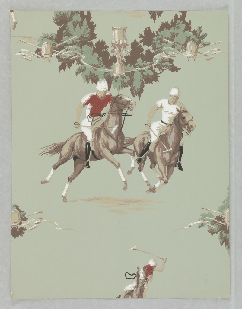 Polo match in action with riders on horses swinging wooden mallets. At the top if a hedge of foliate swag with trophy, ribbons, and mallets. Printed on a grayish ground. Appropriate for children's room, family room, or den.