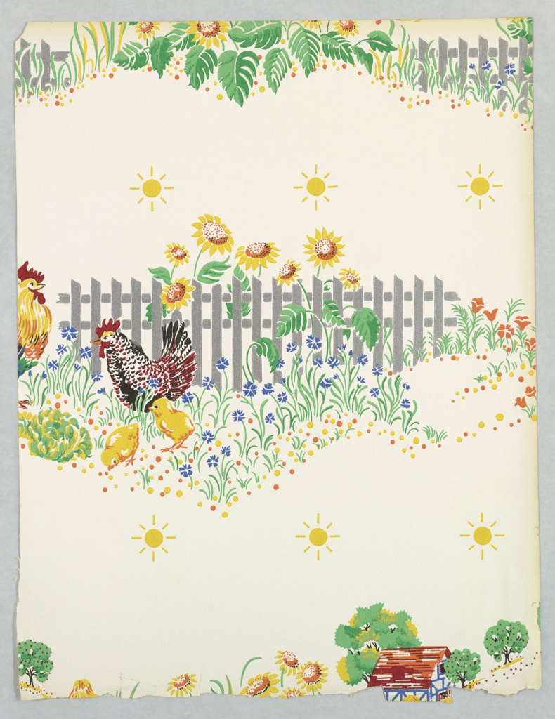 Kitchen or children's wallpaper with central scene of a rooster and hen with two chickens, standing in front of a picket fence where sunflowers grow. Partial scenes above and below this. Printed in colors on a white ground.
