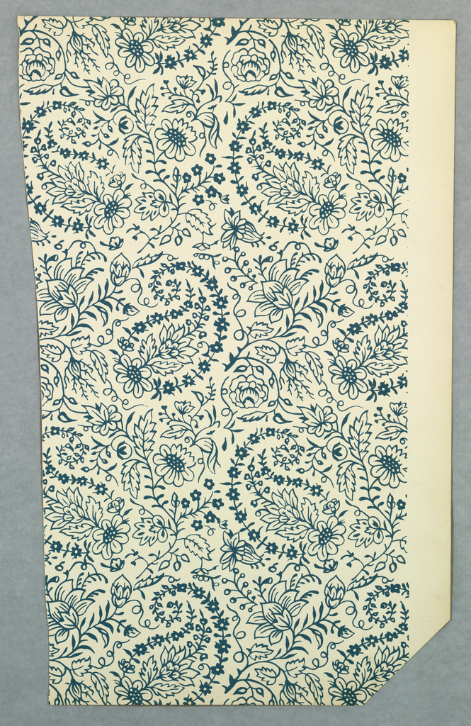 Eight different designs removed from a sample book.  The titles include: a) New England Pineapple, b) Early American Stencil, c) Paisley, d) Barnstable, e) Randolph House, f) Guilford House, g) Hall Tevern, h) Farrington House.