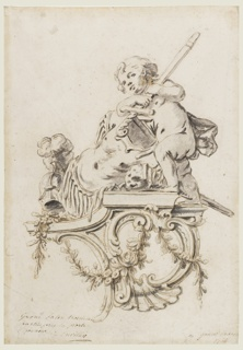 Drawing, Design for a Sculptured Bracket with Putto accompanied by the Attributes of War, for the Grand Trianon, Versailles