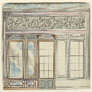 Elevation of a wall, with a painted decoration giving the illusion of window openings with a cloudy sky beyond them. A dado of lattice work, with sky behind it, is indicated at left. Upper section of wall with painted decoration. Section of ceiling, with painted sky, is shown above.