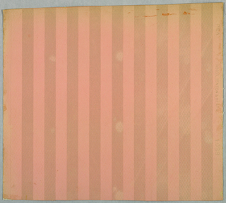 "Divided in one inch vertical stripes alternating, one dull pink, the other pink satin finish. Entire background of paper is embossed in a small diamond motif. Center of each diamond embossed in fine horizontal lines. Printed in pink on embossed paper. Printed in selvedge: ""PEA, 1028, Hobbs, Benton & Heath""."