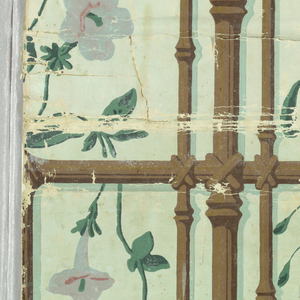 Vertical rectangle. Simulated trellis framework of bound bamboo strips in brown and gilt, with flowering fuchsias and petunias in pink, blue-gray and green. Printed in colors and gilt on glazed green ground.