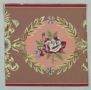 A medallion with a laurel wreath border enclosing a rose and bud. Between medallions is a rosette with two leaves facing opposite directions with an anthemion-like ornament between. Printed in pink, red, green and blue on mauve field.