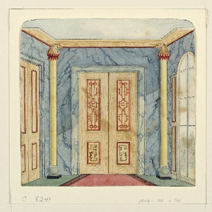 Vertical rectangle. Design for the Royal Pavilion, Brighton. Perspective view of the end of the corridor, with a doorway flanked by half-round columns on the wall facing the spectator, a section of another doorway visible on wall at left, a long window on wall to the right. A blue marbleized design covers the walls.  Original album associated with this collection still exists.  See 1948-40-1 accessory