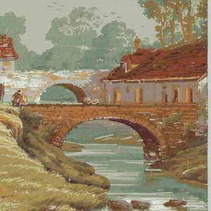 Vertical rectangle, an incomplete width with two repeating motifs; a man on house and trees, alternating with a stream with bridges, houses, and people on a steep bank.