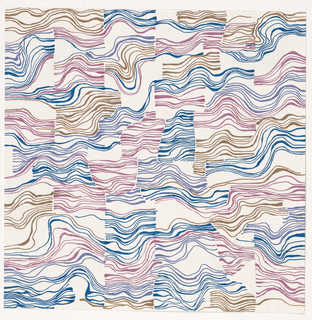 Wavy lines, more or less confined to squares in blue, purple, and tan.