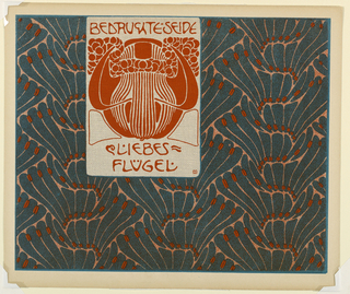 Long, narrow, stylized blue leaves and red stamens in turquoise and persimmon. Abstract design in persimmon in text block, top left center: BEDRUCHTE SEIDE / LIEBES / FLÜGEL. Verso: Title of portfolio in gray in text block, upper left.  Abstract leaf and berry motif in gray on cream