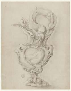 Vertical rectangle showing a design for an ewer in the auricular style. A mermaid is intertwined with the dolphin's tail at the lower outside of the handle.  A dragon stands upon the spout.  Neptune is shown alone. A kneeling mermaid is at the shaft.