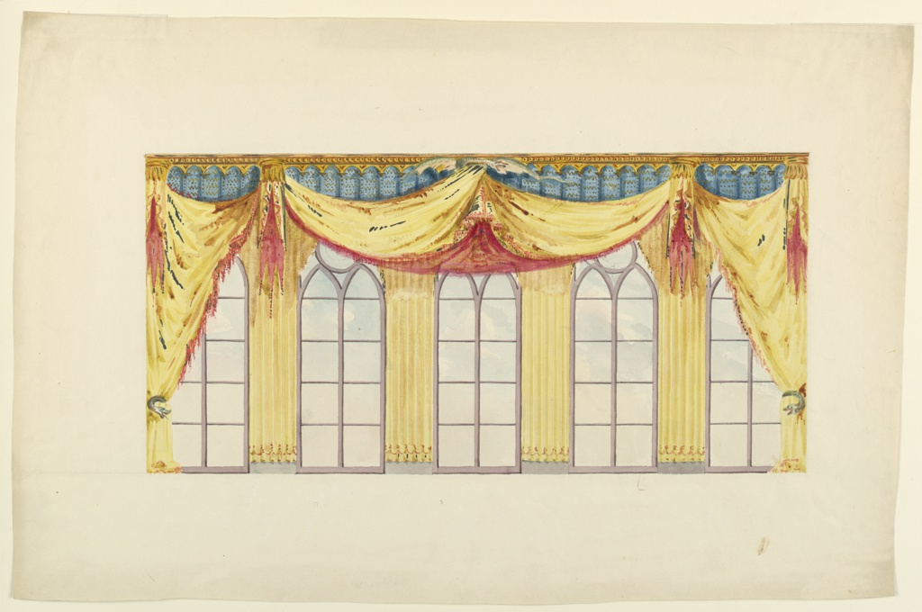 Drawing, Design for Curtains, for the Music Room or the Banqueting Room, Brighton, Royal Pavilion