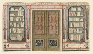 Drawing, Design for Doorway and Bookcase, probably for King's Library, Royal Pavilion, Brighton