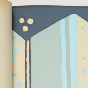 Includes borders, sidewalls, panels, scenics and architectural panel decorations. Includes designs by Denys Fitzpatrick, Zue Martin, William Katzenbach, Ilonka Karasz, Lanette Scheeline and Marion V. Dorn. The designs include:  Pear and Apple border, Ticking Stripe, Silk, Sea Shell Border, Spatter, Spiral Ribbon Border, Tent Stripe, Accordion Border, Spanish Brick, Aztec Border, Triangle Stripe, Bengal, Spanish Key Border, Dotted Weave, Grass Cloth, Santa Fe Border, Adobe Block, Etruscan Wave Border, Greenbrook Spatter, Greek Meander, Woolsuede Wallcovering, Alexandria, Pavilion Palm, Aviary, The Canaletto Panels, Caneel Bay Panels by Marion Dorn, Five Trees by Ilonka Karasz, The Kingston Panels, The Unicorn Panels, American Landscape by Ilonka karasz, Dorado Palm Trees by Lanette, The Williamsburg Commemorative Series, and New York-1798. Each of the designs appears in multiple colorways.