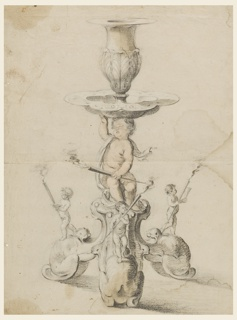 Design for a candlestick shown from the front. Shown is a tripartite foot consisting of animals in auricular style, upon which children stand. Each carries a lighted torch. The child at left additionally holds a bowl; the child at right holds a drinking vessel. The shaft consists of a seated child holding a torch in the left hand and supporting a bowl with its right hand and head.