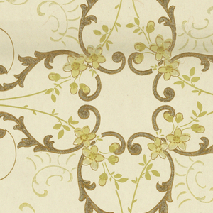 Metallic gold scrollwork, flowers in shades of yellow, on off-white ground.