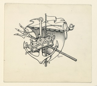 A motif composed of a crown, anchor, trident, and a sail.