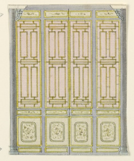 Vertical rectangle. Design for the Royal Pavilion, Brighton. Design for a section of a wall showing four narrow vertical panels containing painted lattice-work designs. Smaller panels above and below bear scroll designs. Narrow columns at ends of the wall.