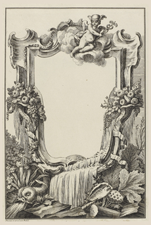 Cartouche design crowned by Mercury and decorated with cornucopias, fountains, a dolphin, shells, and rocaille.