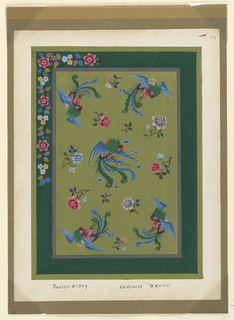 Album of various gouache drawings with floral motifs.