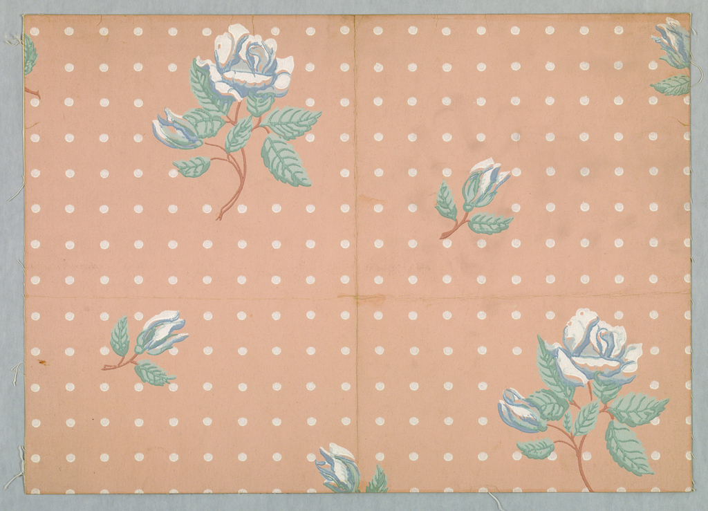 Design of rose spray with flower and bud alternating with bud spray in diagonal lines; ground covered with dots arranged in vertical and horizontal lines. Printed in pale blue, green and white on pale pink.