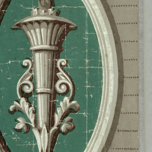 A torch motif against a green ground, set within a cartouche. This cartouche is set against a striped background, with a five band architectural molding running along the top edge. A smaller molding runs along the bottom edge. Printed in shades of gray and green.