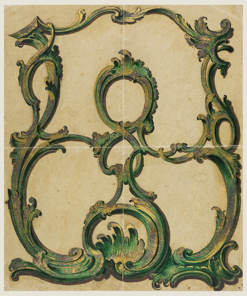 Drawing, Design for a Painted Coach Panel with Rocaille Motif