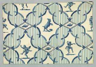 A series of medallions in alternating crosswise rows. One row contains a dancing satyr and a goat respectively while the other row is composed of a dancing boy and another satyr. Between each is a small diamond shaped lozenge containing a snail. The medallions are all enclosed in an ornamental frame consisting of narrow parallel vertical stripes edged with small sprays of laurel leaves. Printed in three shades of Delft blue on white field.