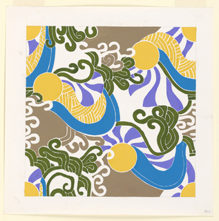 Abstract forms with clusters of hooks in yellow, blue, purple and light brown.