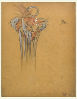 """Drawing, Design for a Comb with """"Flying Fish"""" Motif"""