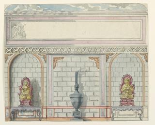Drawing, Design for Entrance Hall, East Wall, Royal Pavilion, Brighton