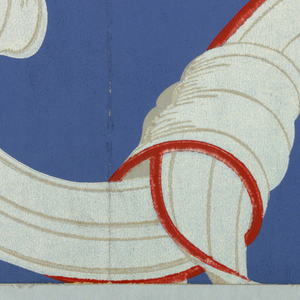 Large white ribbons, with red edges, forming scrolls, printed on deep blue ground. In repeat, the overall effect would be a diamond trellis design.
