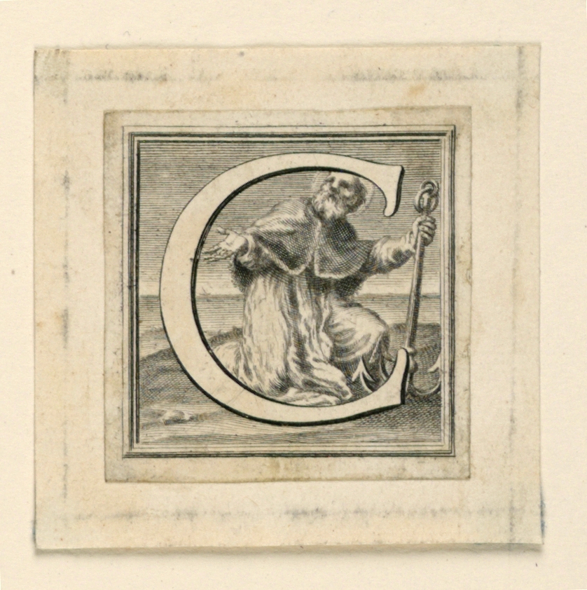 """A: Letter """"C"""" before the kneeling Pope St. Clement, with the anchor.  B: Letter """"D"""" before St. Denis, holding his head."""