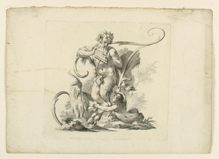 A faun playing his flute and a seated satyr girl extending a branch of leaves to a goat, against [stem of F], formed by scrolls.