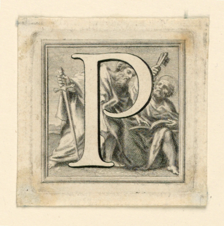 A: The letter O before St. Onofrio praying.    B: Letter P before St. Peter and St. Paul.
