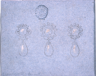 Each consisting of an escutchwon with a hanging pear-shaped pearl.