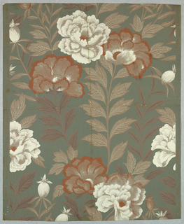 Carnations, printed in white and brown, with brown leaves and stem, printed on green ground.