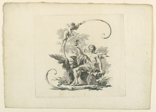 Ganymede seated upon a boulder raises a cup, at which a putto points. The eage stands beside Ganymede. The letter is formed by scrolls.