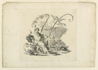 Homer is seated in a rocky landscape, showing Pegasus in the rear. The letter is formed by scrolls and flourish.