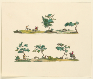 Horizontal strip: boar hunt. At left, a hunter stands behind tree as a boar charges toward him. To the right: a fallen tree, a boar, hound, and horseman. The colors are green, brown, dull yellow, and red.