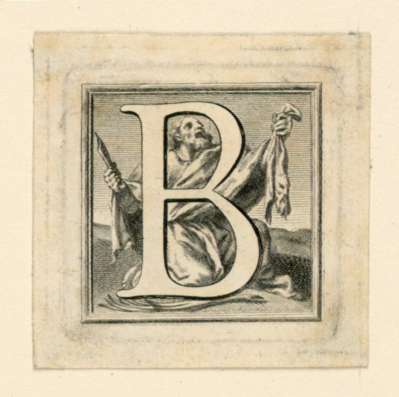 "A: Letter ""A"" standing before God the Father who is talking to Adam, behind whom Eve stands.  