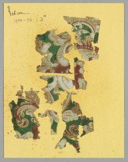 "a) Floral design, marked: ""Becker, Smith & Page, Inc. Phila 282"" b) seven fragments of scrollwork design in white, red and green on ungrounded paper."