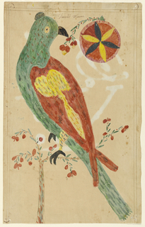 Green parrot with red and yellow wings and black feet, on a branch with red berries. Upper right, a red, black, and yellow flower, and another branch. Name above, and initials on verso.