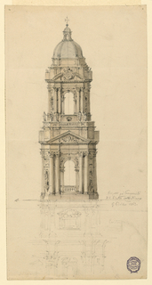 Elevation view of belltower for St. Peters.