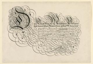 Print, Page from a calligraphy book, Spieghel Der Schrijfkonste, Rotterdam, 1605, 1605