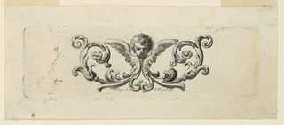 A cherub in the center of two acanthus scrolls.