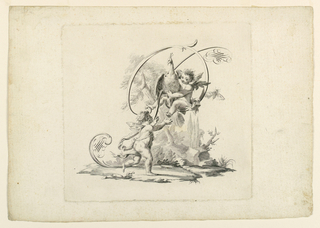 A putto tries to catch a peacock which another one, who is seated in the letter, holds. The letter is formed by scrolls and flourishes.