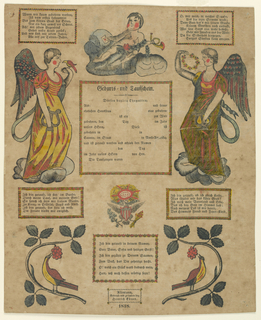 The printed form; the blanks in the center never filled in. Five printed verses in German in horizontal rectangular frames. Date and maker's name below. Angels, type I, upper left and right. A putti with a horn, above center. United States eagle below center, and birds on branches lower left and right. Blocks printed in black, colored by hand.