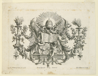 Two putti upon a bracket support an opened book, one of them beside a sword. Two flying ones hold the tiara and the keys over the book. Candelabra with the coat of arms of Pape Clement XI (1700–1721) stand laterally.